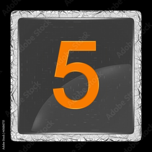 White and black glass icon with number five