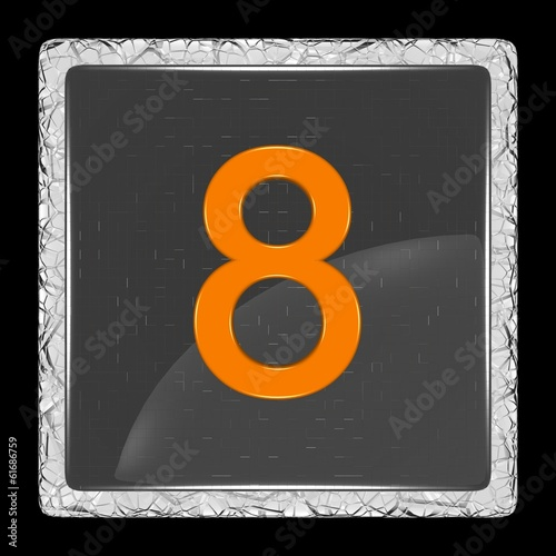 White and black glass icon with number eight