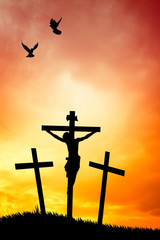 illustration of crucifixion at sunset