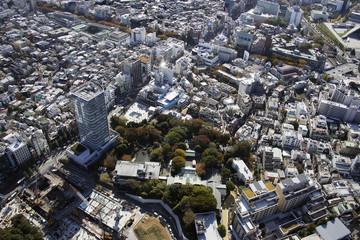 Aerial view of Harajuku station areas