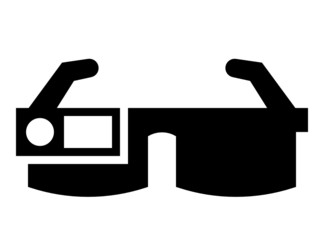 Vector icon of smart glasses with camera and screen