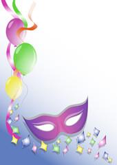 sfondo carnevale mascherina viola coriandoli e palloncini