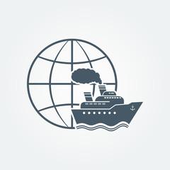 Globe and ship vector icon