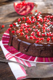 Chocolate cake with Pomegranate seeds