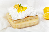 Lemon, vanilla and custard cream cake dessert