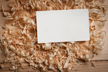 Business cards on wooden chips