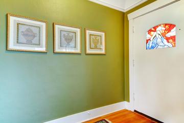 Decorated hallway wall