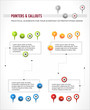 Interface elements set, map location pointer pin, infographics d