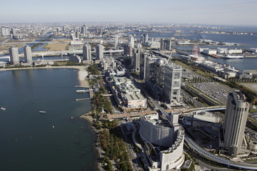 Aerial view of Odaiba areas