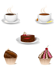 cup of coffee and   dessert cakes