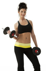 Pretty Woman with Dumbbells on White Background