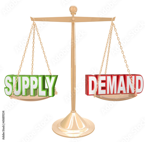 Supply and Demand Balance Scale Economics Principles Law
