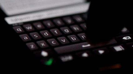 Typing text on smartphone, Close up