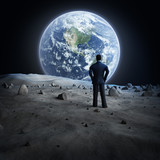 Man standing on the moon, looking at the Earth