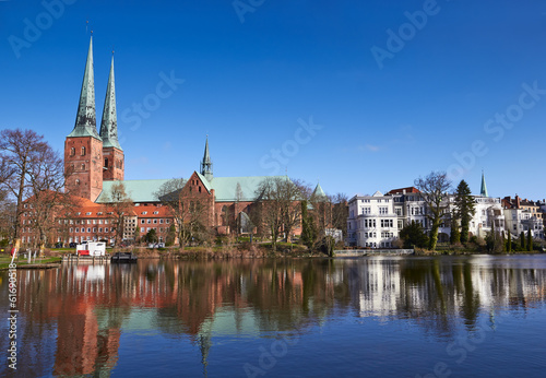 Trave river, old town of Lubeck, Germany