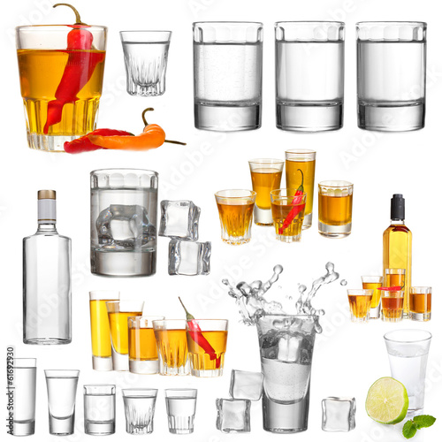 Collage of alcohol drinks. Vodka isolated on white