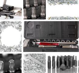 Collage of metal workshop tools close-up