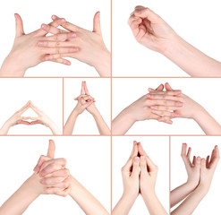 Collage of hand gestures in yoga