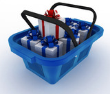 Blue plastic shopping basket with boxes of gifts