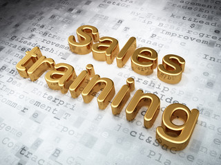 Advertising concept: Golden Sales Training on digital background
