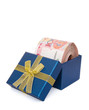 big stack of RMB in present box with clipping path vertical