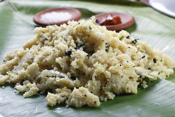 Upma is an Indian dish made of wheat rava (semolina).