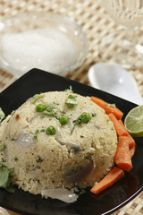 Upma is an Indian dish made of wheat rava (semolina)