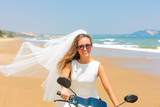 Bride on a motorcycle