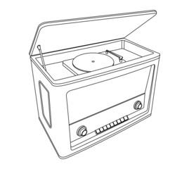 vintage radio-gramophone, black and white