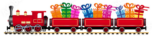 red steam locomotive with gifts - 61694521