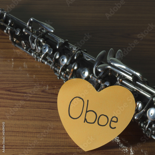 oboe on wood background