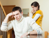 Young family conflict. Young wife having conflict with husband