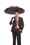 elegant man with umbrella