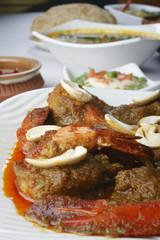 Narkel chingri is a prawn dish