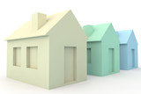Three Simple 3D Houses on white