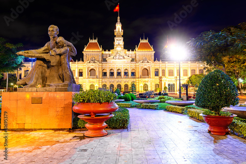 Scenic view of the Ho Chi Minh City Hall in Vietnam at night.