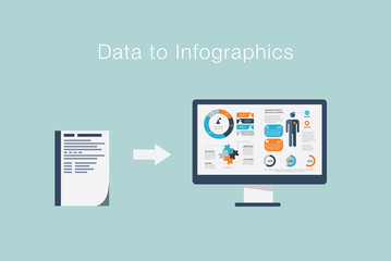 Data to infographics vector illustration flat visualization
