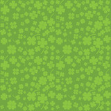 Green background with four leaf clovers, St. Patrick's Day backg