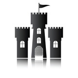 Castle icon isolated, vector