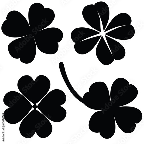 Four leaf clover collection, St. Patrick's day (vector)
