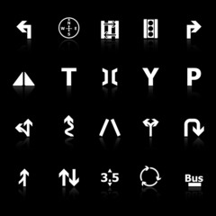 Traffic sign icons with reflect on black background