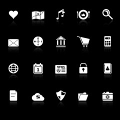 General application icons with reflect on black background