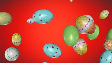 Easter eggs flying up - 3D rendered.