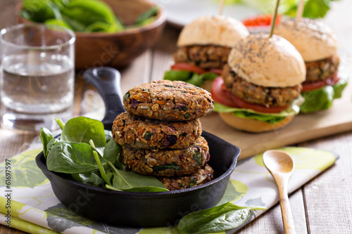 Fotobehang Groenten Vegan burgers with beans and vegetables