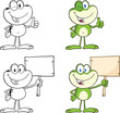 Frog Cartoon Mascot Character 12  Collection Set