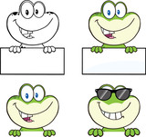 Frog Cartoon Mascot Character 4  Collection Set