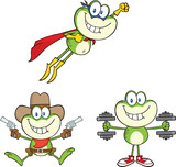 Frog Cartoon Mascot Character 17  Collection Set