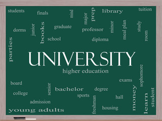 University Word Cloud Concept on a Blackboard