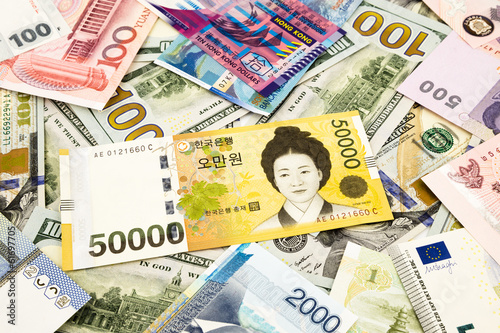 korean and world currency money banknote