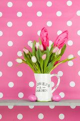 Easter bouquet on pink background